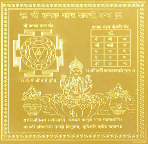 Picture of ARKAM Kanakadhara  Yantra - Gold Plated Copper (For gain of wealth and success in speculation) - (4 x 4 inches, Gold)