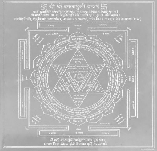 Picture of ARKAM Bagalamukhi Yantra - Silver Plated Copper (For victory over enemies and in court cases) - (4 x 4 inches, Silver)