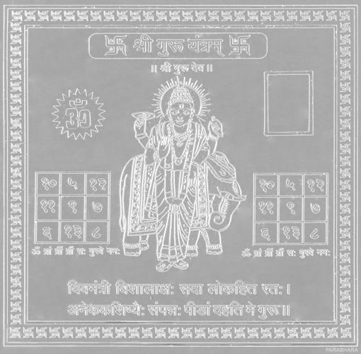 Picture of ARKAM Guru Yantra - Silver Plated Copper (For appeasement of planet Jupiter) - (4 x 4 inches, Silver)