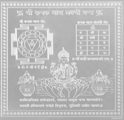 Picture of ARKAM Kanakadhara  Yantra - Silver Plated Copper (For gain of wealth and success in speculation) - (4 x 4 inches, Silver)