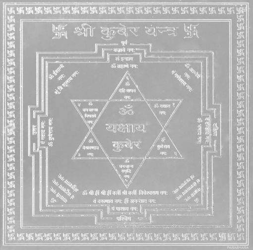 Picture of ARKAM Kubera Yantra - Silver Plated Copper (For prosperity in business and work) - (4 x 4 inches, Silver)