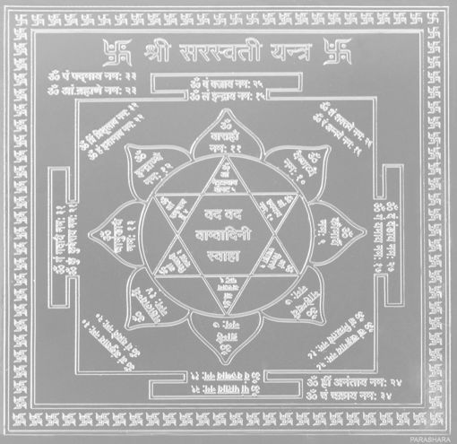 Picture of ARKAM Saraswati Yantra - Silver Plated Copper (For educational prowess) - (4 x 4 inches, Silver)