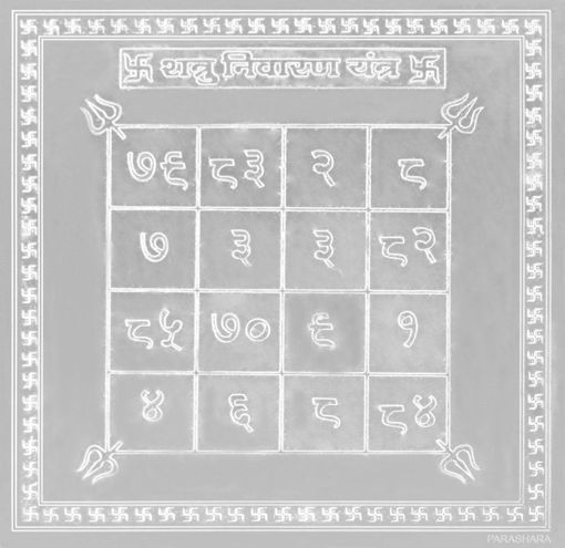 Picture of ARKAM Shatru Nivaran Yantra - Silver Plated Copper (For protection against enemies) - (4 x 4 inches, Silver)