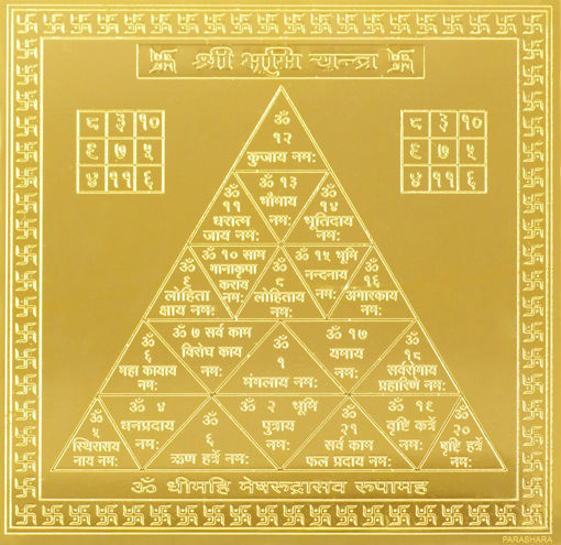Picture of ARKAM Bhoomi Yantra - Gold Plated Copper (For protection against evil spirits) - (6 x 6 inches, Golden)