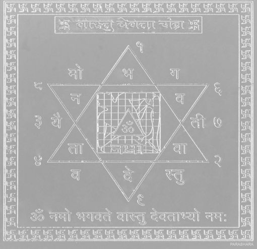 Picture of ARKAM Vaastu Devata Yantra - Silver Plated Copper (For appeasement of Vaastu Devta) - (4 x 4 inches, Silver)