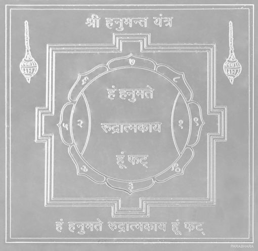 Picture of ARKAM Hanuman Yantra - Silver Plated Copper (For protection against danger and health problems) - (6 x 6 inches, Silver)