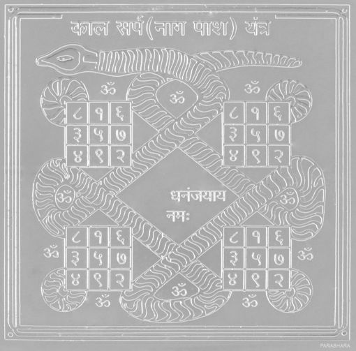 Picture of ARKAM Kalasarpa Yantra - Silver Plated Copper (For removal of hurdles caused by Kalasarpa yoga) - (6 x 6 inches, Silver)