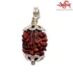 Picture of ARKAM Premium 2 Mukhi Rudraksha / Original Nepali Two Mukhi Rudraksha / Natural 2 faced Rudraksha (Brown) with Silver Chain (92.5% Sterling Silver) and Silver Pendant with  detailed Puja and wearing instructions