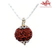 Picture of ARKAM Premium 6 Mukhi Rudraksha / Original Nepali Six Mukhi Rudraksha / Natural 6 faced Rudraksha (Brown) with Silver Chain (92.5% Sterling Silver) and Silver Pendant with  detailed Puja and wearing instructions