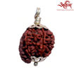 Picture of ARKAM Premium Ganesh Rudraksha / Original Nepali Ganesh Rudraksha / Natural Ganesh Rudraksha (Brown) with Silver Chain (92.5% Sterling Silver) and Silver Pendant with  detailed Puja and wearing instructions