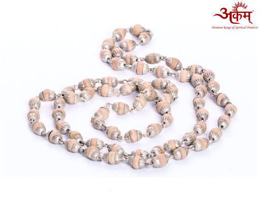 Picture of Arkam White Metal Capped Tulsi Mala/ 100% Natural Tulsi Mala with White Metal Capping/ Original Tulsi mala set in White Metal (Length: 24 inches)