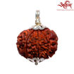 Picture of ARKAM Premium 8 Mukhi Rudraksha / Original Nepali Eight Mukhi Rudraksha / Natural 8 faced Rudraksha (Brown) with Silver Pendant and detailed Puja and wearing instructions
