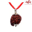 Picture of ARKAM Premium Ganesh Rudraksha / Original Nepali Ganesh Rudraksha / Natural Ganesh Rudraksha (Brown) with Silver Pendant and detailed Puja and wearing instructions
