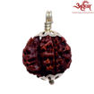 Picture of ARKAM Premium Savar Rudraksha / Original Nepali Savar Rudraksha / Natural Savar Rudraksha (Brown) with Silver Pendant and detailed Puja and wearing instructions