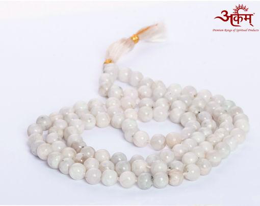 Picture of Arkam Moonstone Mala/ Original Moon Stone Mala/ Semi Precious Stone Mala (Size: 7mm, Length: 32 inches, Beads: 108+1) with Gaumukhi