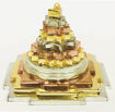 Picture of ARKAM Meru Shri Yantra - Brass with Gold, Silver & Copper Polish - for Success, Wealth & Prosperity (7.5 x 7.5 x 6.5 cm Shree Yantra)