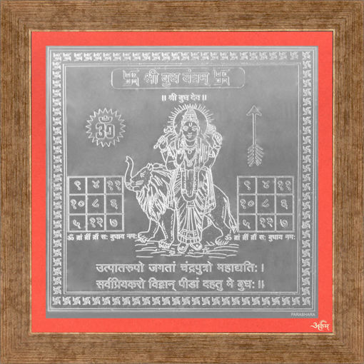 Picture of ARKAM Budha Yantra - Silver Plated Copper (For appeasement of planet Mercury) - (4 x 4 inches, Silver) with Framing