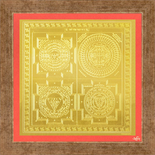 Picture of ARKAM Sarva Raksha Maha Yantra - Gold Plated Copper (for All Round Protection) - (4 x 4 inches, Golden) with Framing