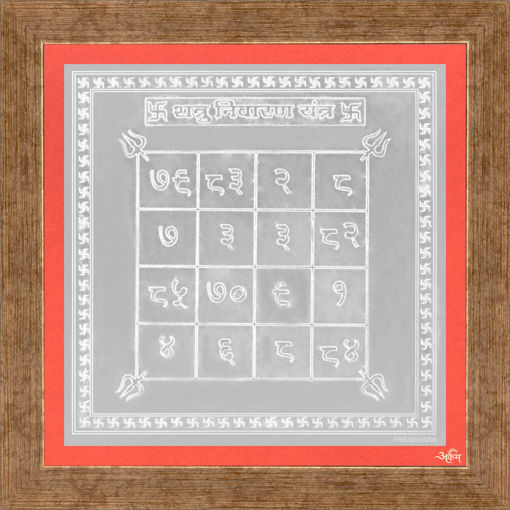 Picture of ARKAM Shatru Nivaran Yantra - Silver Plated Copper (For protection against enemies) - (4 x 4 inches, Silver) with Framing