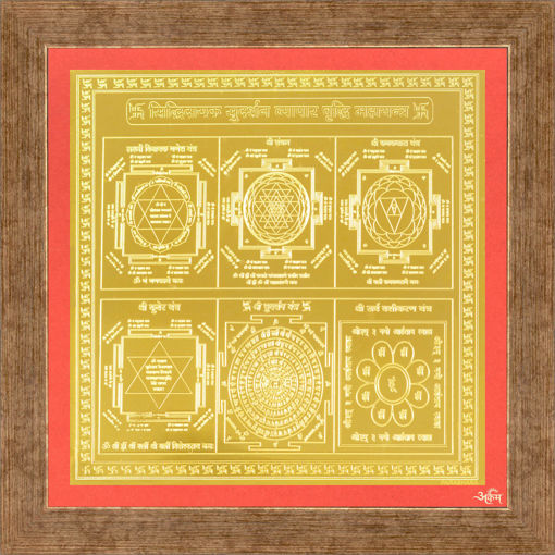 Picture of ARKAM Vyapaar Vriddhi Yantra - Gold Plated Copper (for Prosperity in Business) - (4 x 4 inches, Golden) with Framing