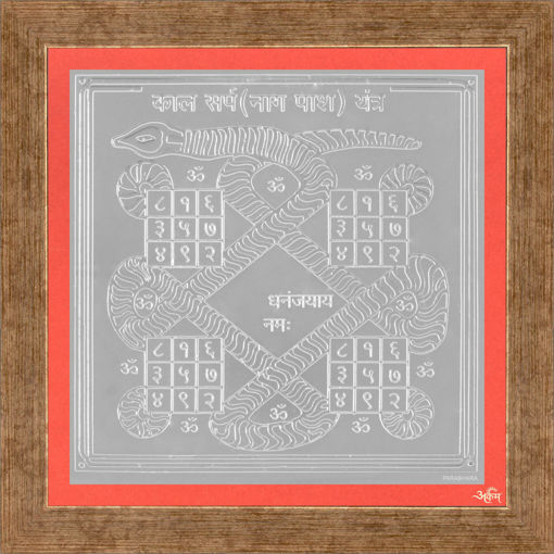 Picture of ARKAM Kalasarpa Yantra - Silver Plated Copper (For removal of hurdles caused by Kalasarpa yoga) - (6 x 6 inches, Silver) with Framing