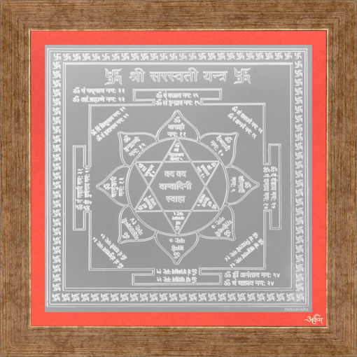 Picture of ARKAM Saraswati Yantra - Silver Plated Copper (For educational prowess) - (6 x 6 inches, Silver) with Framing