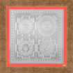 Picture of ARKAM Sarva Raksha Maha Yantra (for All Round Protection) - Silver Plated Copper - (6 x 6 inches, Silver) with Framing