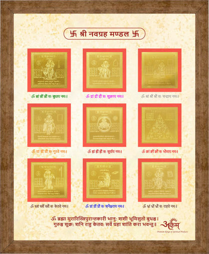 Picture of ARKAM Navagraha Yantra - Gold Plated Copper (For appeasement of all the nine planets) - (2 x 2 inches - 9 Yantras, Gold)