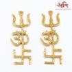 Picture of Arkam Swastik Om Trishul Trishakti Yantra / Brass Trishakti / Tri Shakti - Set of 2