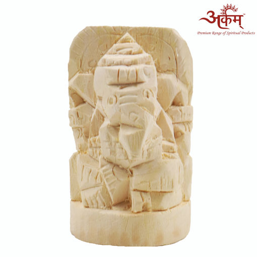 Picture of Arkam Shwetark Ganpati / Shvetark Ganapati / Shwetarka Ganesh / Shwetark Idol (8 x 5 x 3 cm, Off White)