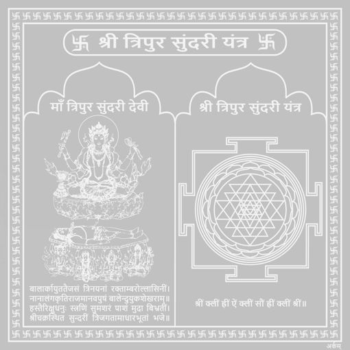 Picture of Arkam Tripura Sundari Yantra - Silver Plated Copper (For youthfulness and successful married life) - (4x4 inches, Silver)