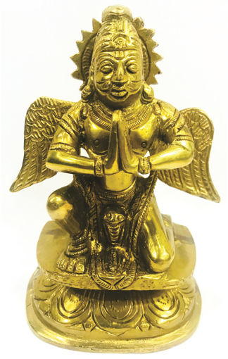 Picture of ARKAM Garuda Statue - Brass - for Appeasement of Lord Vishnu & Planet Rahu (14cm)